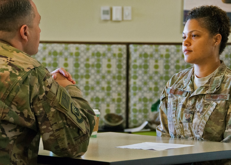 Chief Master Sgt. James Loper, 10th Air Force Command Chief, meets Staff Sgt. Nikita Gillison, 919th Special Operations Force Support Squadron, at the Speed Mentoring event May 4