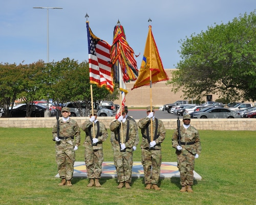 Members of the 418th Contracting Support Brigade make up a color guard during an uncasing ceremony April 20 at Fort Hood, Texas. The uncasing of 418th CSB organizational colors signals the return from deployment to Afghanistan for the unit.