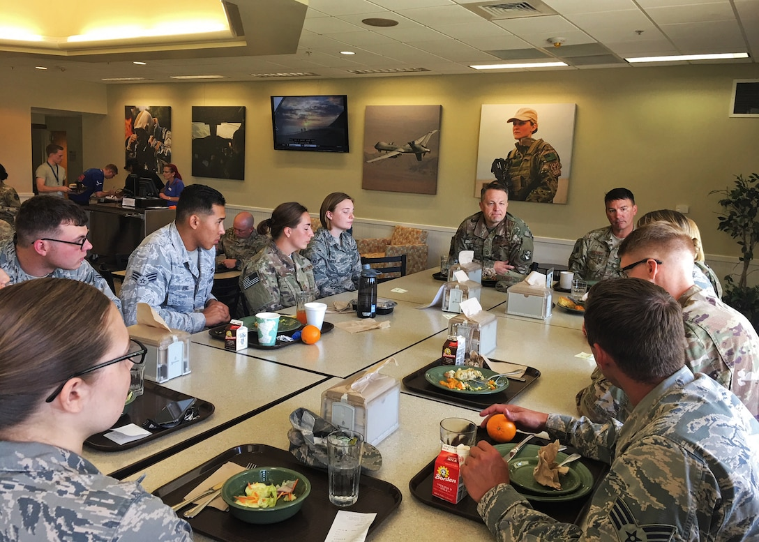 Chief Master Sgt. James Loper, 10th Air Force Command Chief, responds to questions from 919th Special Operations Wing reservists