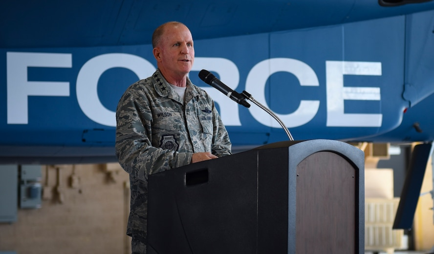 Air Force Vice Chief of Staff Gen. Stephen W. Wilson speaks during the Gen. Lew Allen Jr. Award ceremony at Nellis Air Force Base, Nevada, May 2, 2018. The award was named after the 10th Chief of Staff of the Air Force. (U.S. Air Force photo by Airman 1st Class Andrew D. Sarver)