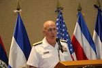 Navy Adm. Kurt W. Tidd speaks during 2018 Central American Security Conference.