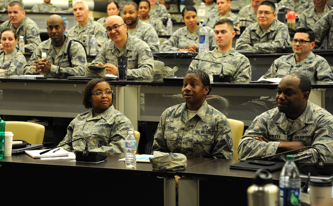 Leaders speak to 170 technical and master sergeants at the First Sergeant Symposium here May 7-11. Hosted by the Joint Base Andrews and Joint Base Anacostia-Bolling First Sergeant Council, the multi-day event featured leadership perspectives, panels and presentations designed to instill critical thinking, familiarize attendees with various Air Force resources, and prepare the NCOs to lead Airmen.