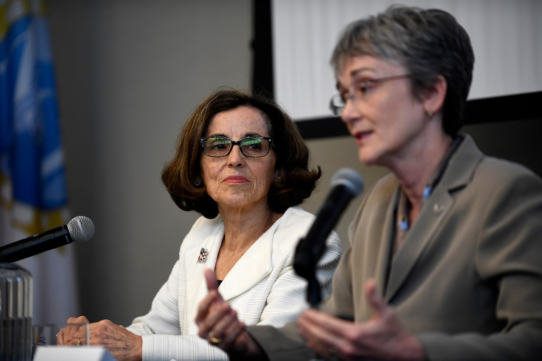 Secretary of the Air Force Heather Wilson and National Science Foundation Director France Córdova answer questions after signing a letter of intent in Washington, D.C., May 9, 2018. The letter of intent initiates a strategic partnership focused on research in four areas of common interest: space operations and geosciences, advanced material sciences, information and data sciences, and workforce and processes. (U.S. Air Force photo by Staff Sgt. Rusty Frank)