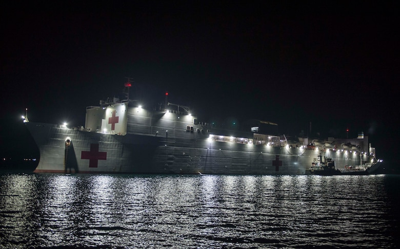 Military Sealift Command hospital ship USNS Mercy's (T-AH 19) sits anchored off the coast of Trincomolee, Sri Lanka in support of Pacific Partnership 2018 (PP18).  PP18's mission is to work collectively with host and partner nations to enhance regional interoperability and disaster response capabilities, increase stability and security in the region, and foster new and enduring friendships across the Indo-Pacific Region. Pacific Partnership, now in its 13th iteration, is the largest annual multinational humanitarian assistance and disaster relief preparedness mission conducted in the Indo-Pacific.