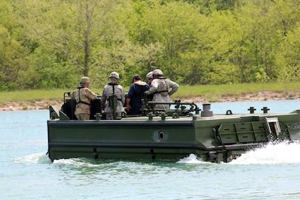 Birdon America trainers take 102d Training Division (MS) 12C, bridge crewmen, instructors out on the M30 Bridge Erection Boat during new equipment operator training at Fort Leonard Wood, Mo.