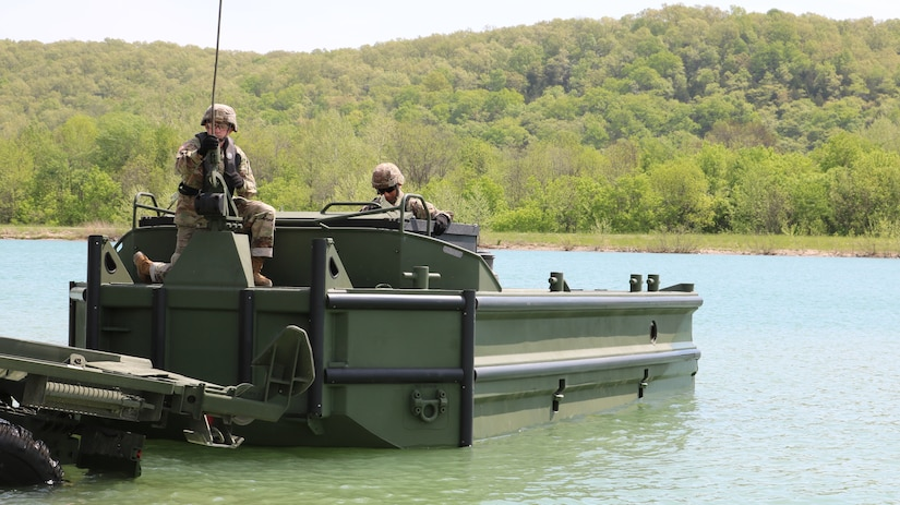 The M30 Bridge Erection Boat launches into the water during new equipment operator training at Fort Leonard Wood, Mo.