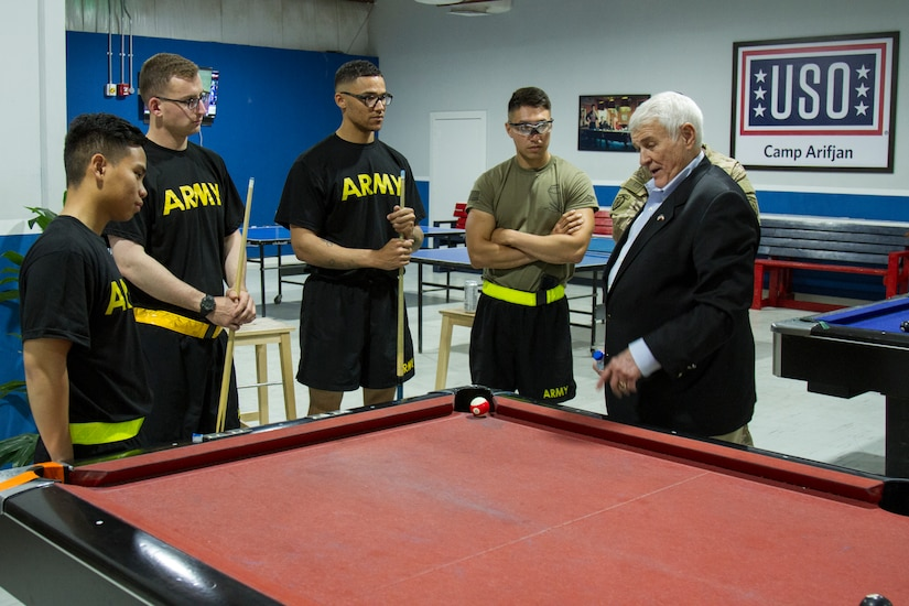 U.S. Representative John R. Carter, Texas, talks to Soldiers at the USO, Camp Arifjan, Kuwait, May 4, 2018. U.S. Representatives John R. Carter and Roger Williams from Texas visited U.S. servicemembers in the middle east as part of a congressional delegation.