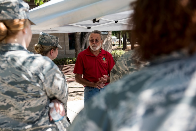 Curt Marshall, 20th Force Support Squadron Wateree Recreation Area manager, speaks to Team Shaw members during an Outdoor Recreation open house at Shaw Air Force Base, S.C., May 9, 2018.