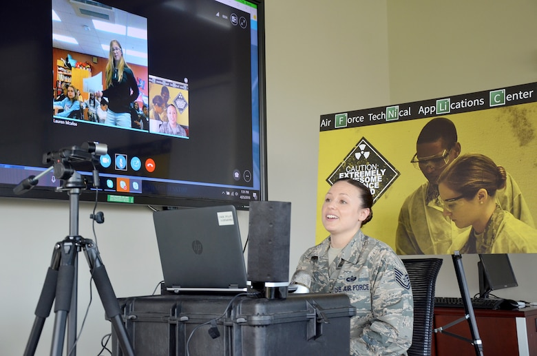 Tech. Sgt. BreAnne Groth, a  satellite operations system analyst with the 23rd Analysis Squadron, Air Force Technical Applications Center, Patrick AFB, Fla., answers a question via Skype from Haley Hargrove, a 6th grader from Daniell Middle School in Marietta, Ga.  The school requested to have Airmen speak with students April 25, 2018 about how science, technology, engineering and math are used by members of the military. (U.S. Air Force photo by Susan A. Romano)