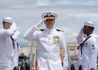 180413-N-LY160-0342 PEARL HARBOR (April 13, 2018) - Cmdr. Heath E. Johnmeyer, commanding officer of the Virginia-class fast-attack submarine USS Mississippi (SSN 782) is piped ashore following a change of command ceremony on the submarine piers in Joint Base Pearl Harbor-Hickam, May 8. Johnmeyer relieved Cmdr. Eric J. Rozek. (U.S. Navy photo by Mass Communication Specialist 2nd Class Michael Lee/Released)