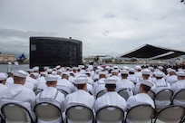180508-N-LY160-0092 PEARL HARBOR (May 8, 2018) - The crew of the Virginia-class fast-attack submarine USS Mississippi (SSN 782) and guests attend a change of command ceremony on the submarine piers in Joint Base Pearl Harbor-Hickam, May 8. Cmdr. Heath E. Johnmeyer relieved Cmdr. Eric J. Rozek as Mississippi commanding officer. (U.S. Navy photo by Mass Communication Specialist 2nd Class Michael Lee/Released)