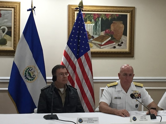 Navy Adm. Kurt W. Tidd and El Salvador's Minister of Defense, David Munguía Payés, conduct a press conference.