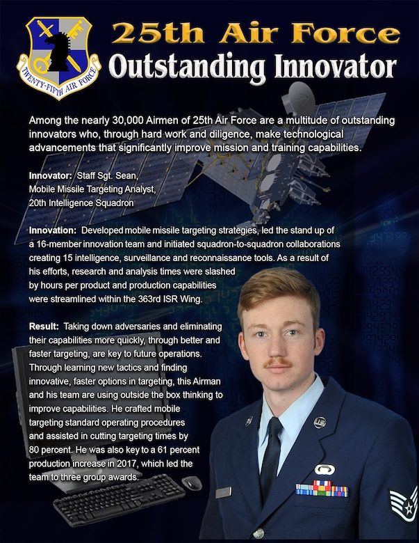 In the field of missile targeting, Staff Sgt. Sean, mobile missile targeting analyst, 20th Intelligence Squadron, is one of the most innovative and motivated members of 25th Air Force.