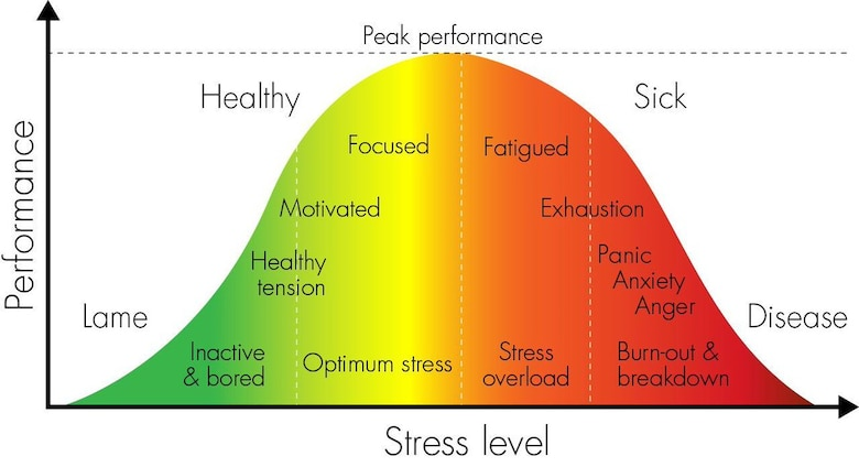 Lt. Col. Jannell MacAulay, 58th Special Operations Wing director of human performance and leadership, used a bell-curve graph as example to depict the basic idea of stress and how it can effect a human's ability to perform.