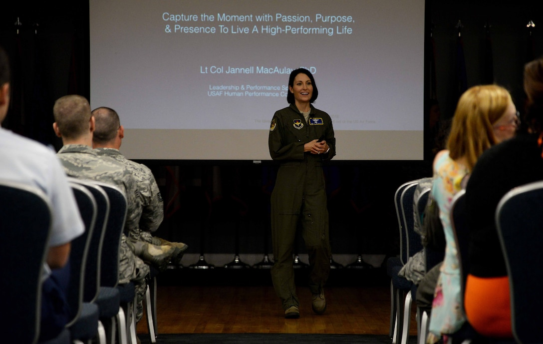 Lt. Col. Jannell MacAulay, 58th Special Operations Wing director of human performance and leadership, speaks to Team BLAZE members May 3, 2018, on Columbus Air Force Base, Mississippi. In one minute, she taught an audience how to help strengthen their mindfulness through deep breathing practices. (U.S. Air Force photo by Airman 1st Class Keith Holcomb)