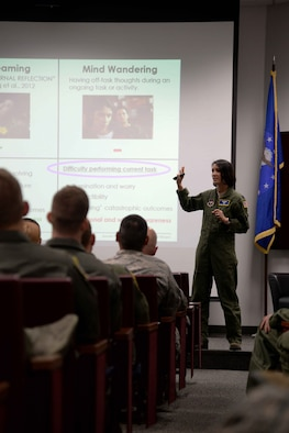 Lt. Col. Jannell MacAulay, 58th Special Operations Wing director of human performance and leadership, speaks to Team BLAZE members May 3, 2018, on Columbus Air Force Base, Mississippi. MacAulay has been visiting military bases across the U.S. to speak about the benefits emerging from mental training, commonly known as mindfulness. (U.S. Air Force photo by Airman 1st Class Keith Holcomb)