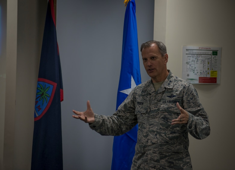 U.S. Air Force Maj. Gen. Randall A. Ogden, 4th Air Force commander, Air Force Reserve Command, addresses Airmen and family members of the U.S. Air Force Reserve's 44th Aerial Port Squadron, during Operation Inafa' Maolek at Andersen Air Force Base, May 5, 2018.