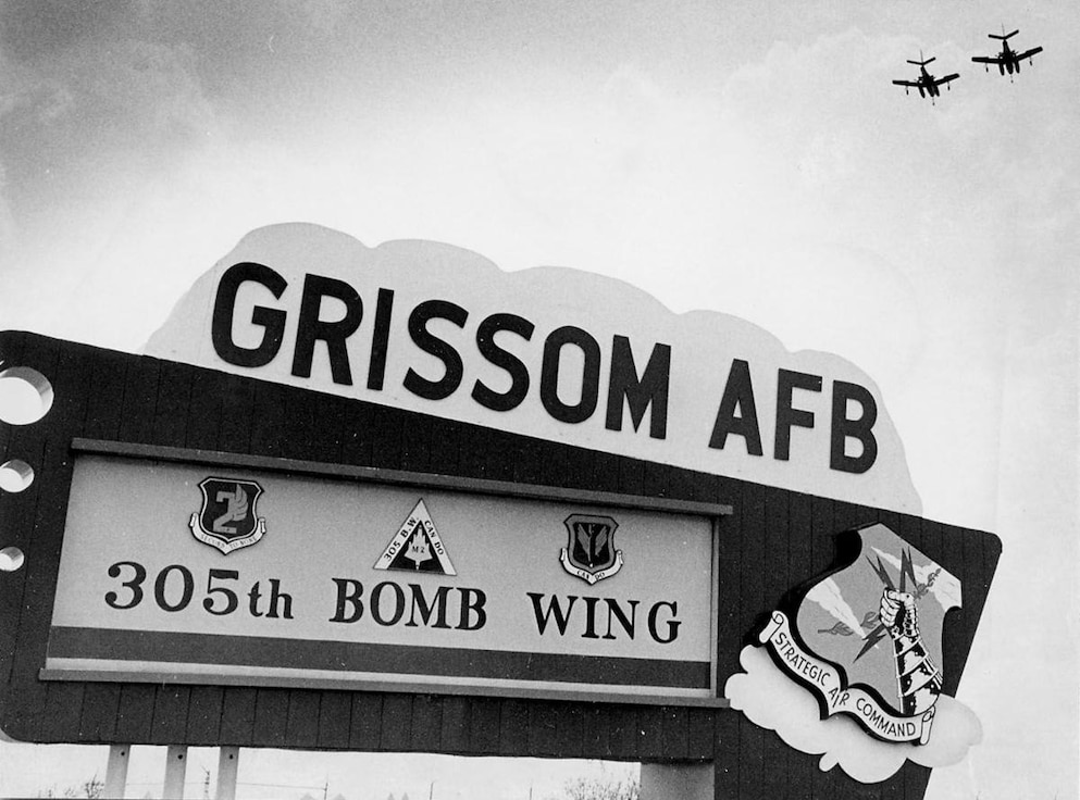 The sign to Grissom Air Force Base was changed in 1968 following the renaming of the base from Bunker Hill Air Force Base. The base was renamed after Lt. Col. Virgil 'Gus' Grissom killed on Jan. 27, 1967 while training for an Apollo mission at Cape Kennedy, Florida. (U.S. Air Force photo)