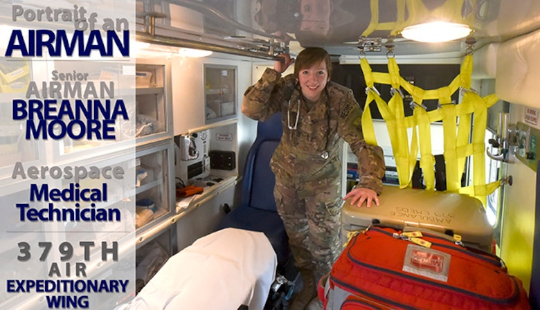 SrA Breanna Moore poses for a portrait in the ambulance her team uses when responding to emergency calls at Al Udeid Air Base, Qatar on May 5, 2018. Moore is assigned to the Expeditionary Medical Operations Squadron as an Aerospace Medical Technician, this is her second time deployed to Al Udeid in this capacity. (U.S. Air Force photo by Staff Sgt. Enjoli Saunders)