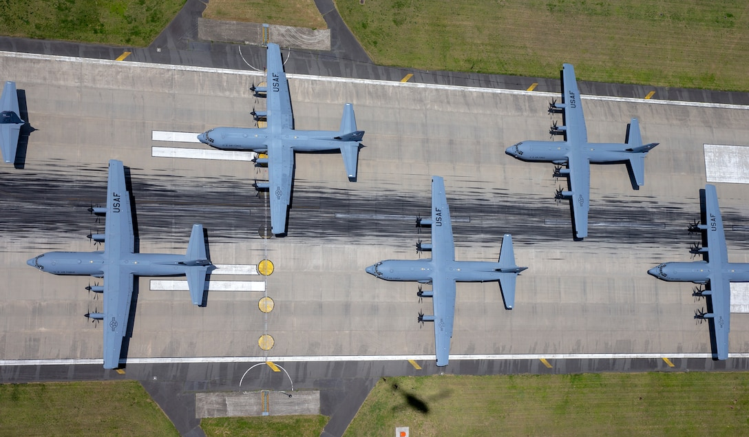 C-130J Super Hercules from the 36th Airlift Squadron prepare to take off during the 374th Airlift Wing Generation Exercise Elephant Walk at Yokota Air Base, Japan, May 4, 2018. The exercise was conducted in order to demonstrate the wing's ability to rapidly deploy forces across Indo-Pacific region. The 374th AW maintains and operates the C-130J Super Hercules, C-12 Huron, and UH-1N Iroquois, making it the primary Western Pacific airlift hub for U.S. Air Force peacetime and contingency operations. (U.S. Air Force photo by Yasuo Osakabe)