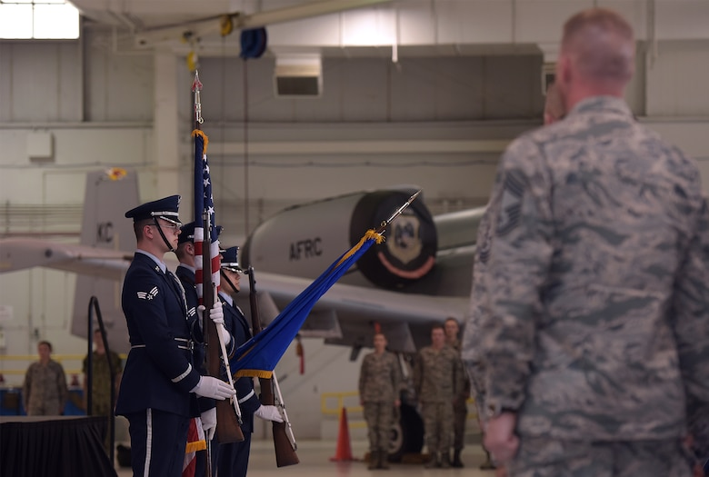 The Base Honor Guard presents the colors during the Omaha Trophy award ceremony at Whiteman Air Force Base, Mo., May 8, 2018. The Omaha Trophy was awarded to the men and women of the 509th Bomb Wing and 131st Bomb Wing  for executing the best Strategic Bomber Operations of 2017. (U.S. Air Force photos by Airman 1st Class Taylor Phifer)