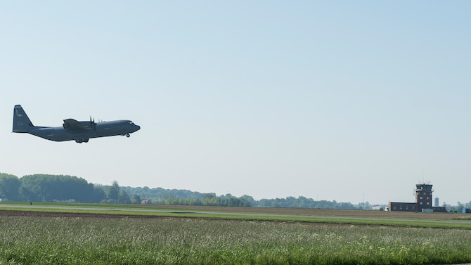 A C-130J Super Hercules from Ramstein Air Base, Germany, takes-off from Chievres Air Base, Belgium, May 4, 2018. The pilot performed multiple landings and take-offs to check the integrity of a new landing zone for future use to help further project U.S. air power. (U.S. Air Force photo by Staff Sgt. Jimmie D. Pike)
