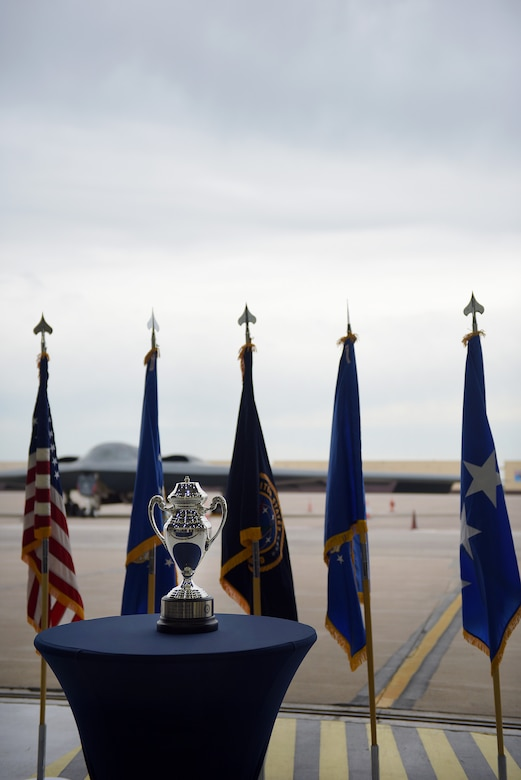 The Omaha Trophy, is displayed at Whiteman Air Force Base, Mo., May 8, 2018. The Omaha Trophy is awarded to units for excellence in strategic deterrence and global strike. Team Whiteman won the trophy for executing the best Strategic Bomber Operations of 2017.  (U.S. Air Force photos by Airman 1st Class Taylor Phifer)