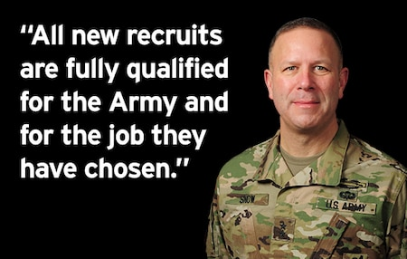 """MG Snow with quote """"All new recruits are fully qualified for the Army and for the job they have chosen"""""""