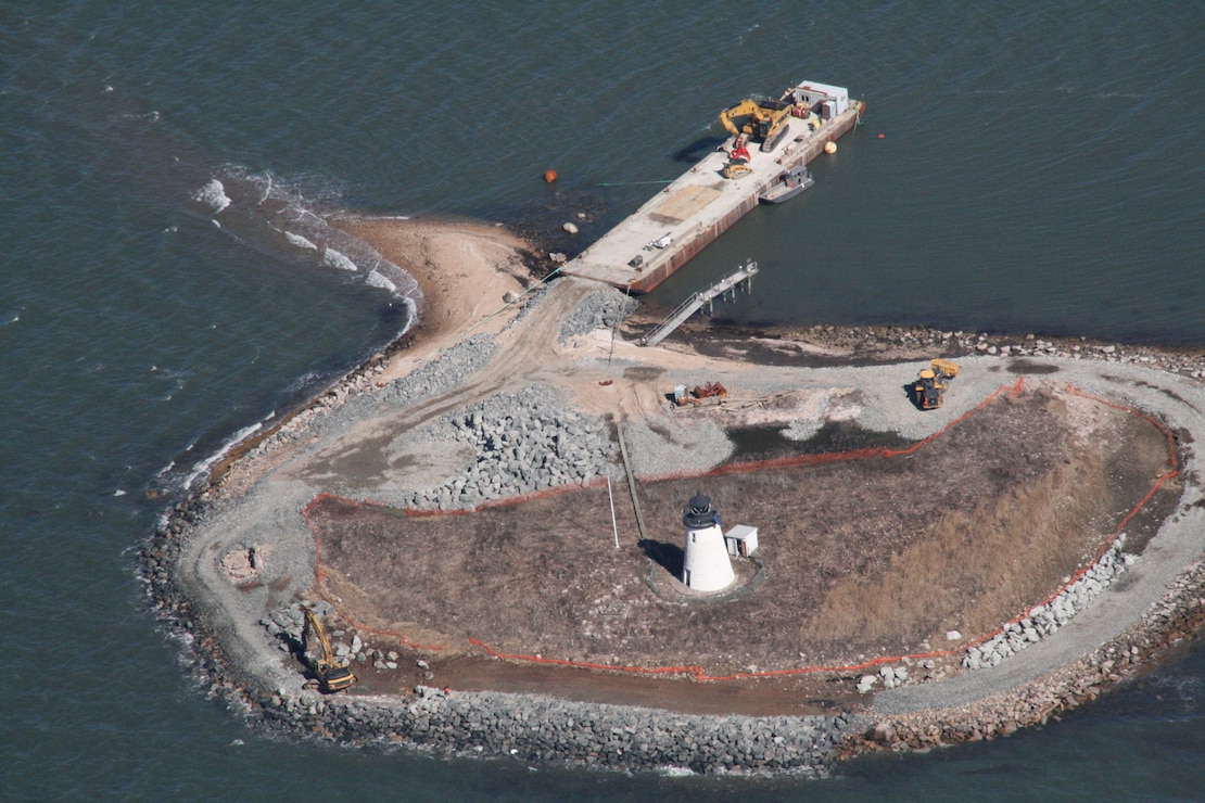 Aerial View of the restoration work at Bird Island in Massachusetts.