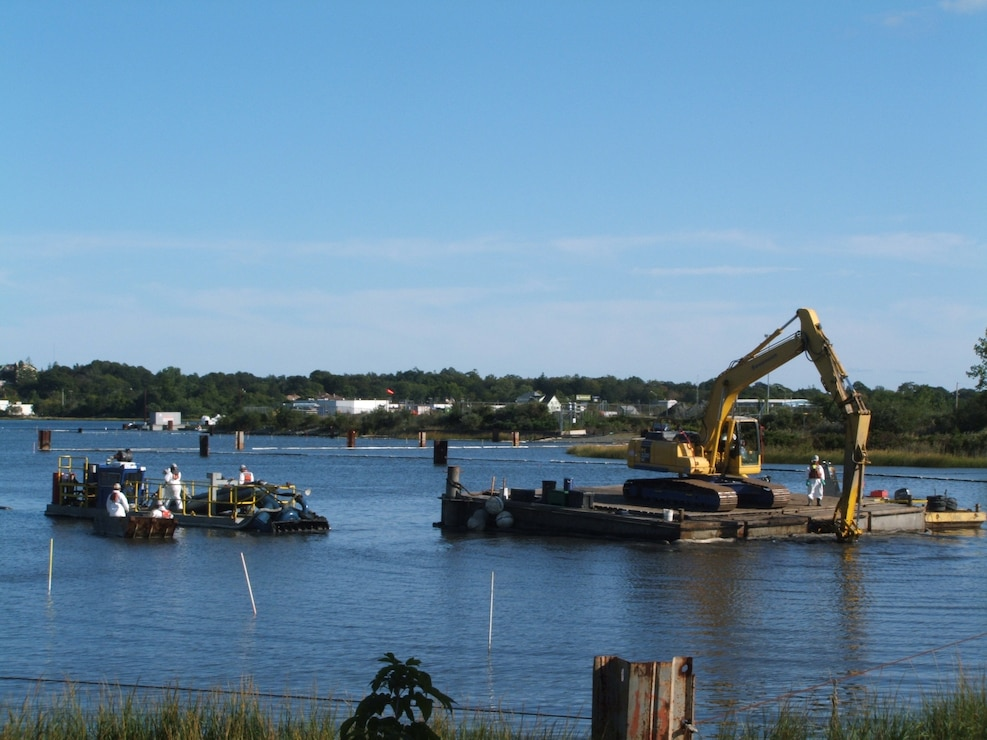 Dredging operations at the New Bedford Harbor Superfund Site.