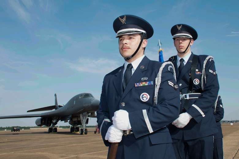 Members of the honor guard at Barksdale Air Force Base, Louisiana  stand ready to present the Colors during a civic leader social here May 10, 2018.  The event allowed leadership from Barksdale to thank civic leaders from across the Shreveport and Bossier City area for their ongoing support of the base and its mission. (U.S. Air Forc photo by Master Sgt. Ted Daigle/released)