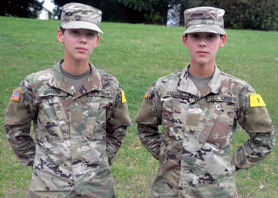 Private Joanna Barton (left) and Private Jaclynn Barton (right) are identical twins who are students in the radiology program at the Medical Education and Training Campus at Joint Base San Antonio-Fort Sam Houston. The twins entered the program in March and are set to graduate in September.