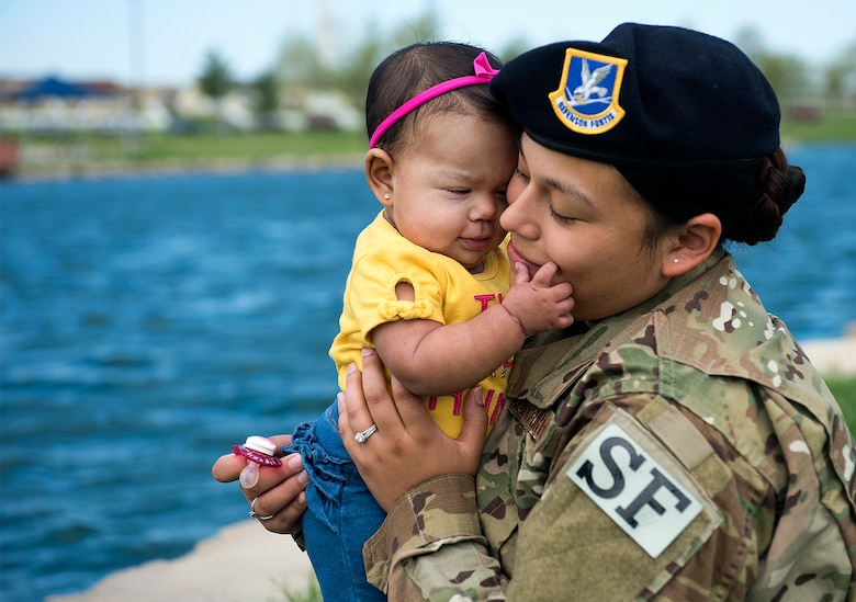 U.S. Air Force Senior Airman Ashley Dudley, a pass and identification clerk assigned to the 509th Security Forces Squadron, sits and plays with her daughter at Whiteman Air Force Base, Mo., May 4, 2018. Dudley and her 8-month old daughter, Adelina Dudley, will be celebrating their first Mother's Day this year; they plan to eat brunch as a family and spend quality time together. (U.S. Air Force photos by Airman 1st Class Taylor Phifer)