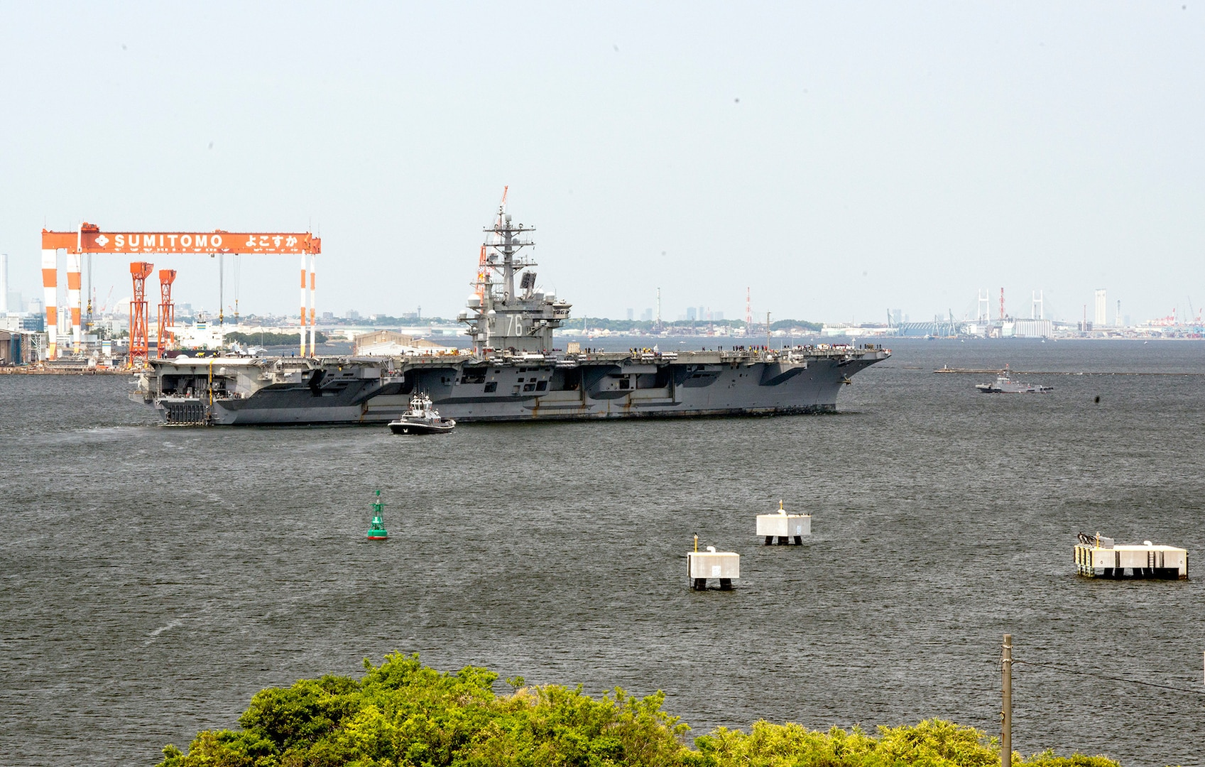 USS Ronald Reagan Departs Yokosuka for Sea Trials