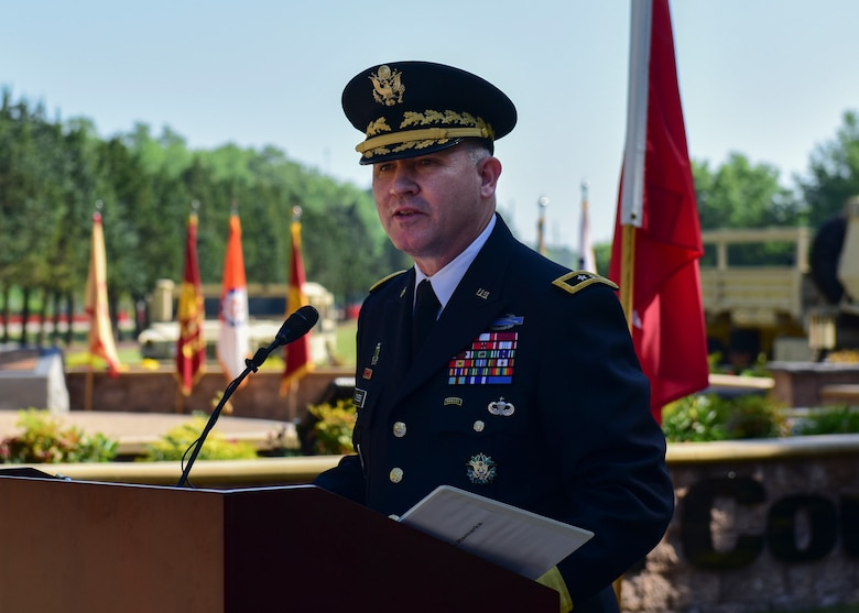 "U.S. Army Maj. Gen. Robert ""Bo"" Dyess, Army Capabilities Integration Center deputy director, speaks during the Seay Plaza rededication ceremony at Joint Base Langley-Eustis, Virginia, May 11, 2018. The plaza was named after Sgt. William Wayne Seay, and Dyess, Seay's second cousin, shared personal memories of Seay's impact on their family. (U.S. Air Force photo by Airman 1st Class Monica Roybal)"