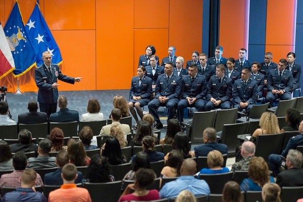 Lt. Gen. Steve Kwast, commander of Air Education and Training Command, speaks to family and friends of members of the Air Force Reserve Officer Training Corps Detachment 842 during their commissioning ceremony May 10, 2018, at the University of Texas San Antonio. Kwast is responsible for the recruiting, training and education of more than 293,000 Air Force members annually. (U.S. Air Force photo by Sean M. Worrell)