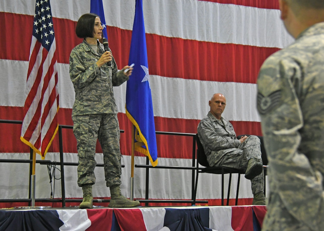 Chief Master Sgt. Vicki Robertson, 94th Airlift Wing command chief, addresses Airmen at a commander's call last weekend. Robertson recently became the command chief for the wing. (U.S. Air Force photo/Staff Sgt. Miles Wilson)