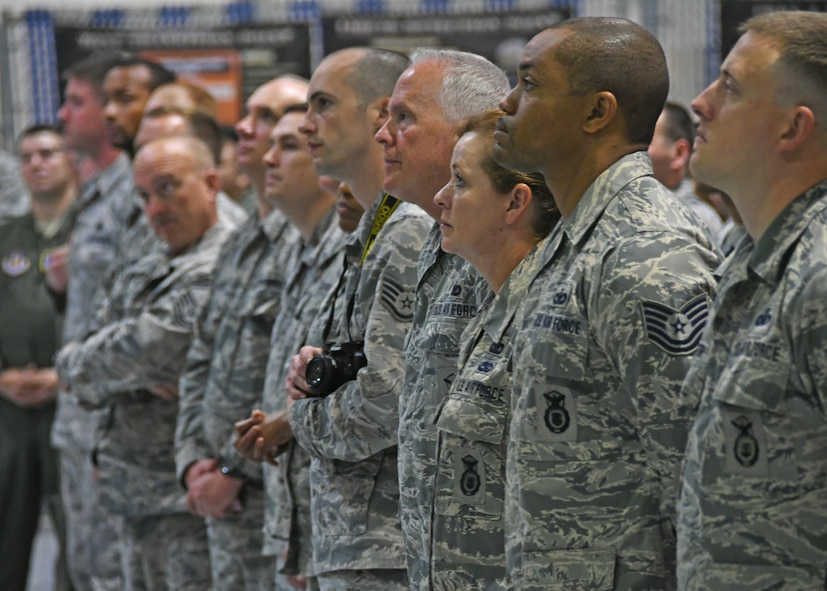 Airmen listen during a commander's call held at Dobbins Air Reserve Base, Ga. last weekend. During the call, the base commander iterated his appreciation to the Airmen's dedication to the military and to their service. (U.S. Air Force photo/Staff Sgt. Miles Wilson)