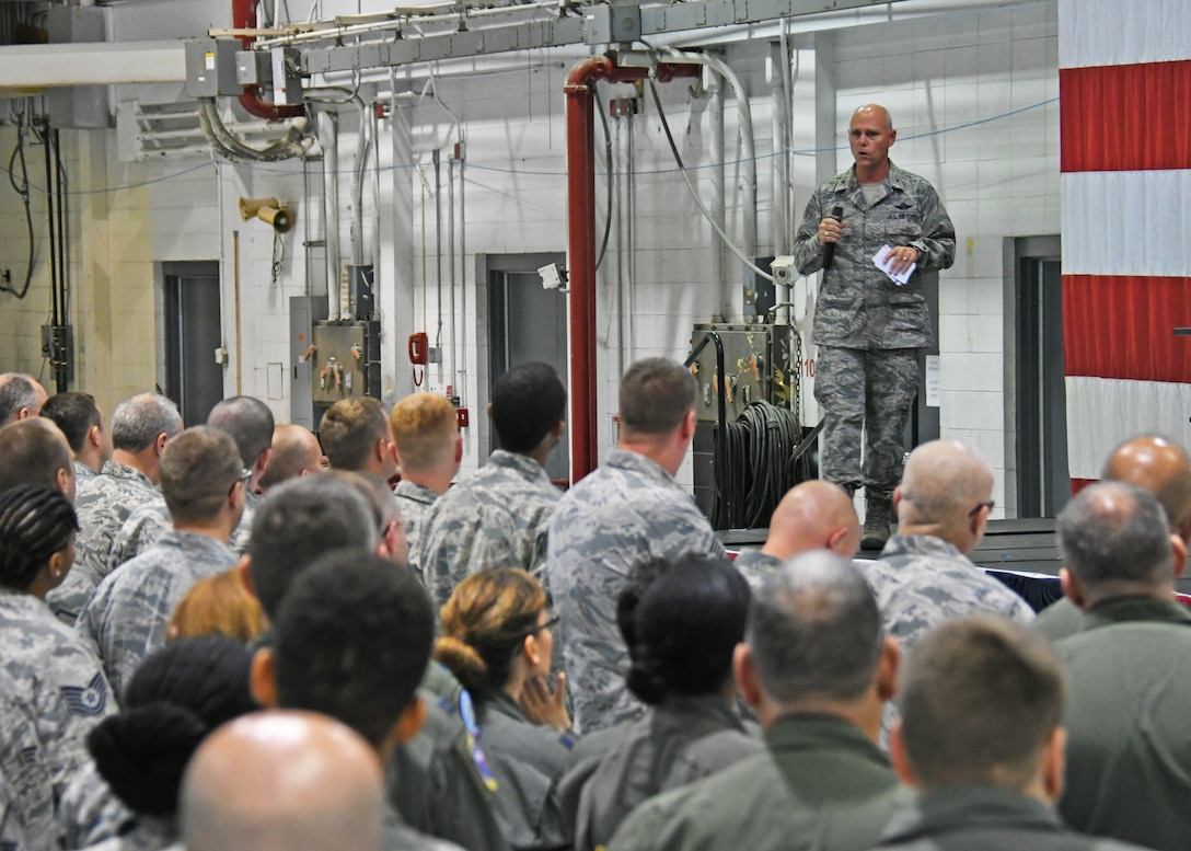 "Brig. Gen. Richard Kemble, 94th Airlift Wing commander, addresses Airmen during his first commander's call held last weekend. ""I need a warrior in each of you,"" said the commander. ""I need your A-game each and every day, and I need you to come in with passion and with a warrior ethos!""  (U.S. Air Force photo/Staff Sgt. Miles Wilson)"