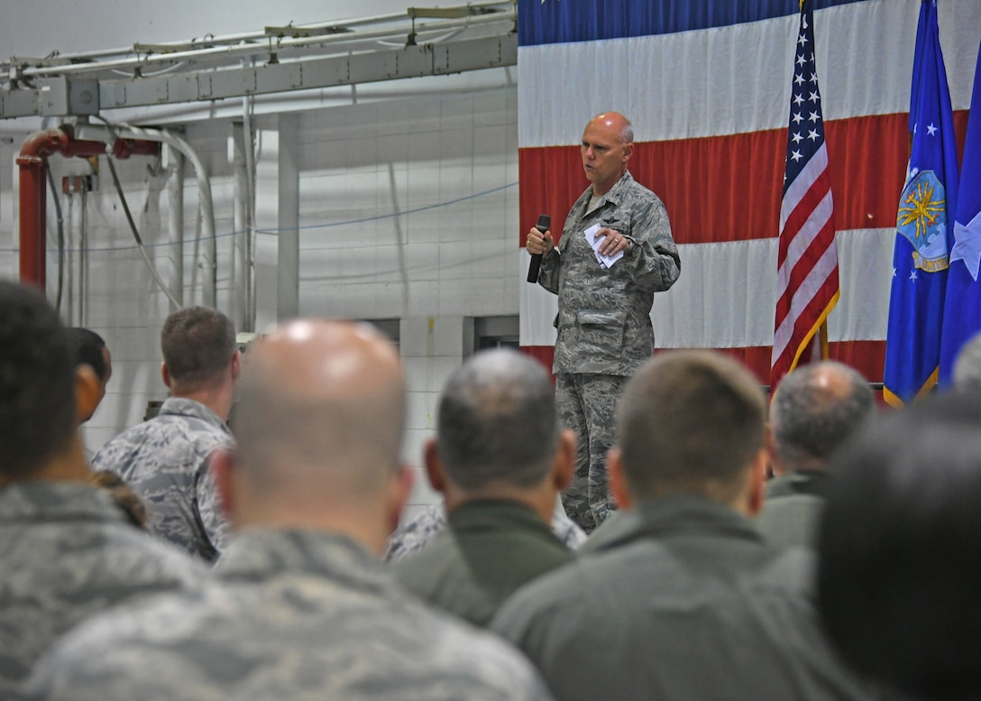 Brig. Gen. Richard Kemble, 94th Airlift Wing commander, addresses Airmen at his first commander's call last weekend. Kemble took command of the 94th earlier this year. (U.S. Air Force photo/Staff Sgt. Miles Wilson)