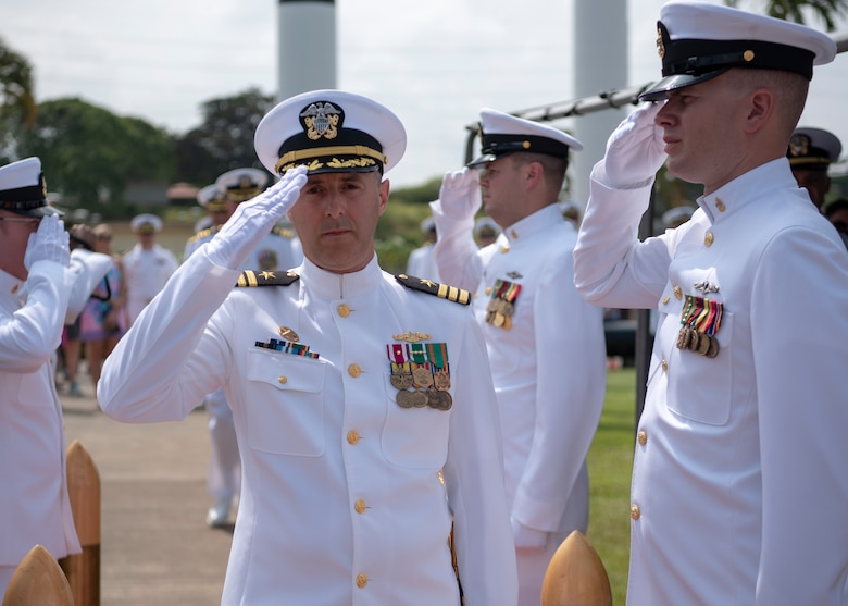 PEARL HARBOR (May 11, 2018) - Cmdr. Steven Dawley is piped aboard during the Los Angeles-class fast-attack submarine USS Jefferson City (SSN 759) change of command ceremony at the USS Bowfin Submarine Museum and Park in Pearl Harbor, Hawaii, May 11. Dawley relieved Cmdr. Kevin Moller as the 14th commanding officer of Jefferson City. (U.S. Navy photo by Mass Communication Specialist 2nd Class Michael Lee/Released)