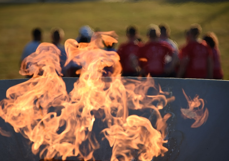 The torch flame burns during the Special Olympics Mississippi 2018 Summer Games opening ceremony at the Training Levitow Training Support Facility drill pad at Keesler Air Force Base, Mississippi, May 11, 2018. Founded in 1968, Special Olympics hosts sporting events around the world for people of all ages with special needs to include more than 700 athletes from Mississippi. (U.S. Air Force photo by Kemberly Groue)