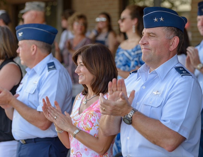 Maj. Gen. Timothy Leahy, 2nd Air Force commander and his wife, Kathy attend the Special Olympics Mississippi 2018 Summer Games opening ceremony at the Levitow Training Support Facility drill pad at Keesler Air Force Base, Mississippi, May 11, 2018. Founded in 1968, Special Olympics hosts sporting events around the world for people of all ages with special needs to include more than 700 athletes from Mississippi. (U.S. Air Force photo by Andre' Askew)