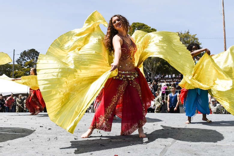 Airman 1st Class Neva Hendry, 311th Training Squadron trainee, performs the Levantine belly dance during the Defense Language Institute Foreign Language Center Language Day at the Presideo of Monterey, California, May 11, 2018. Hendry choreographed and taught the dance practicing for a month and a half before Language Day.