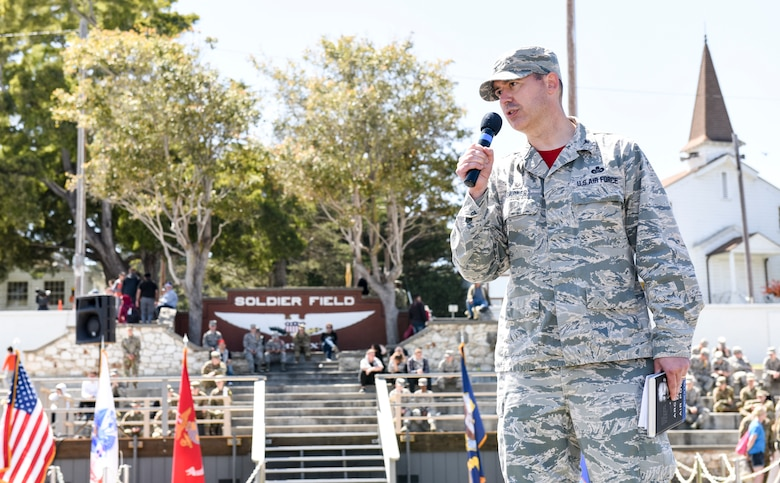 U.S. Air Force Col. Wiley Barnes, 517th Training Group commander, provides closing remarks for the Defense Language Institute Foreign Language Center at the Presideo of Monterey, California, May 11, 2018. Language Day is the one day the general public can visit the Presideo of Monterey and learn about the mission and work done by DLIFLC.