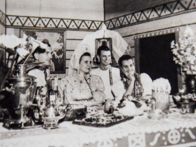 Family of Russian Faculty adorn the Russian display booth on April 25, 1952 from the Army Language School festival. The Russian booth was the largest of the many booths on display at the festival.