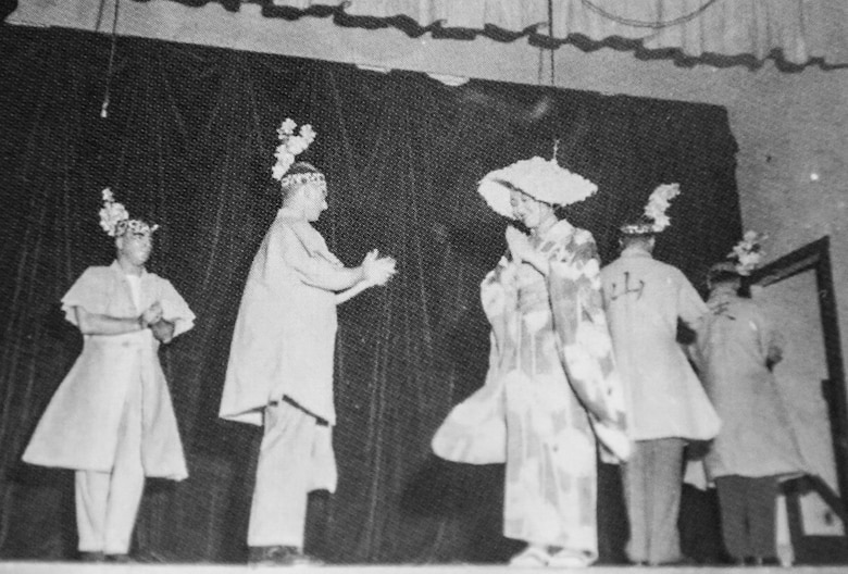 "Students perform a Japanese dance called, ""Dance of the Coal Miners,"" on April 25, 1952, during the Army Language School Festival, Presideo of Monterey, California. The current Language Day evolved from this celebration of language and cultures."