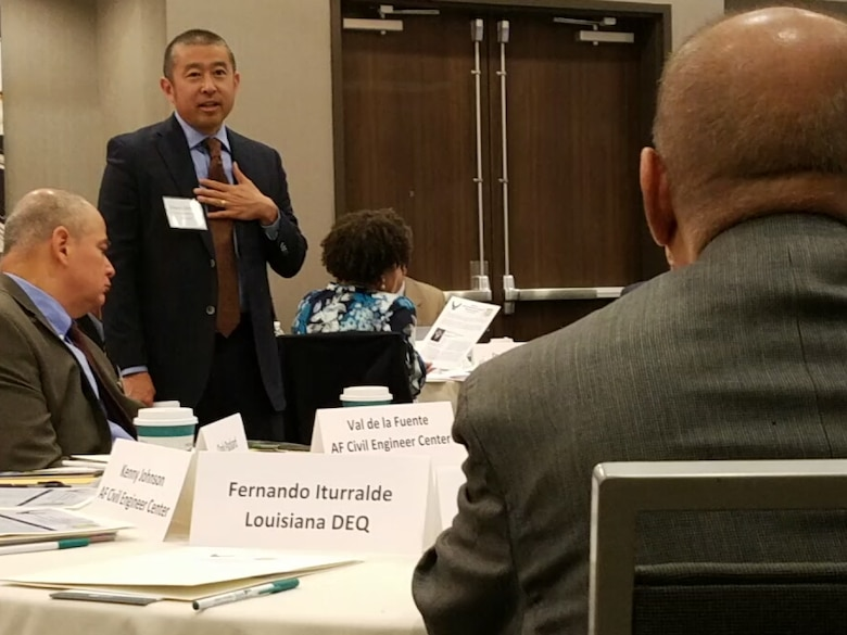 Edwin Oshiba, Air Force Civil Engineer Center director, welcomes state and federal environmental regulators to the 2018 Air Force Central Region Environmental Restoration Summit in Denver May 9.