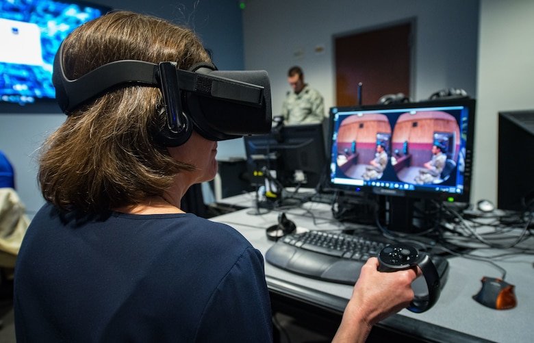 NSF attendee using virtual reality program
