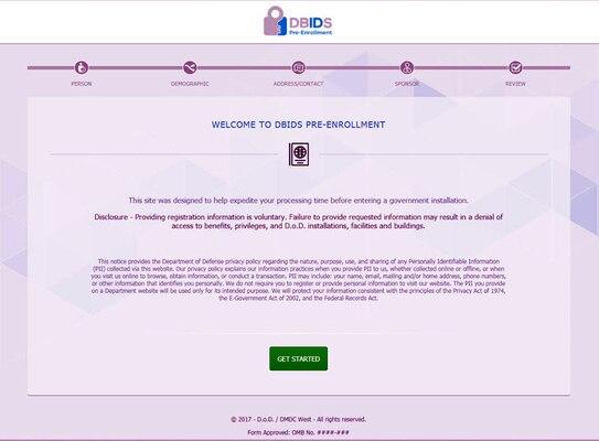 DBIDS Pre-enrollment Website > Defense Logistics Agency